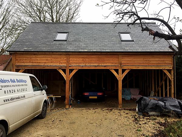 Oak framed 3 bay storey & half garage, front elevation, by Shires Oak Buildings