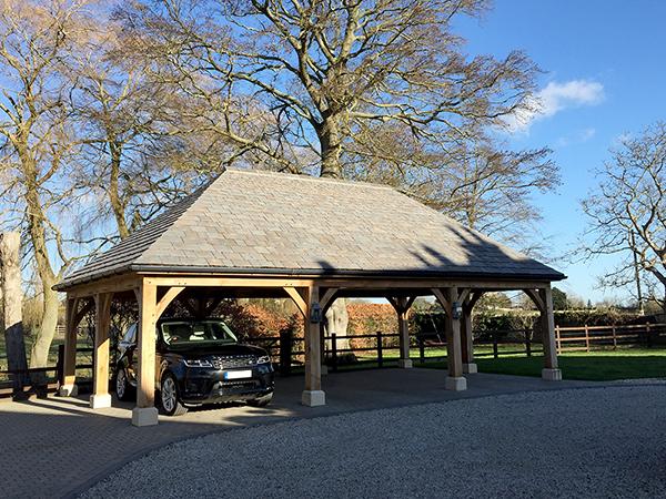 Oak framed 3 bay open carport, front elevation, by Shires Oak Buildings