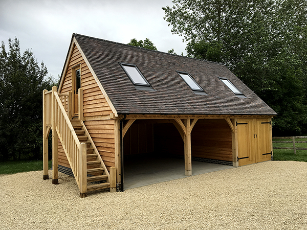 Oak framed 3 bay room over garage by Shires Oak Buildings