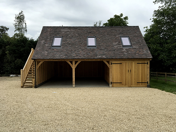 Oak framed 3 bay room over garage, front view, by Shires Oak Buildings