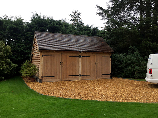 Oak framed 2 bay garage by Shires Oak Buildings