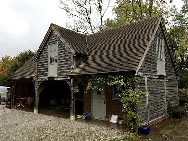 Oak framed 3 bay garage & studio by Shires Oak Buildings, right hand elevation
