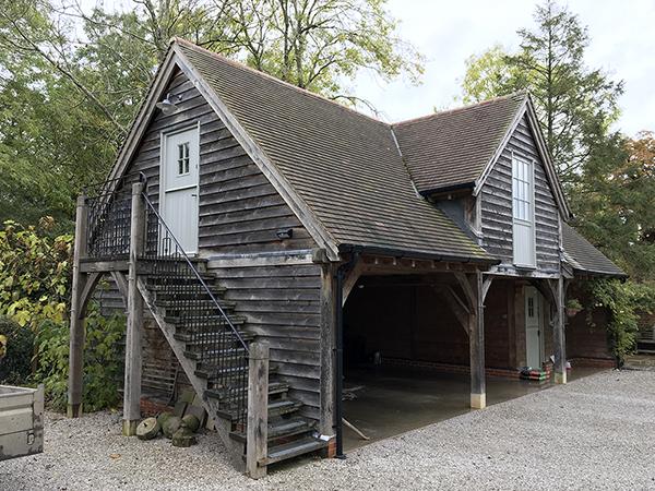 Oak framed 3 bay garage & studio by Shires Oak Buildings