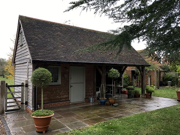 Oak framed garden store, front elevation, by Shires Oak Buildings