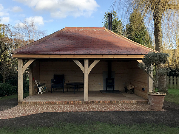 Oak framed 2 bay garden shelter by Shires Oak Buildings