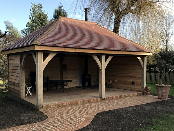 Oak framed 2 bay garden shelter by Shires Oak Buildings