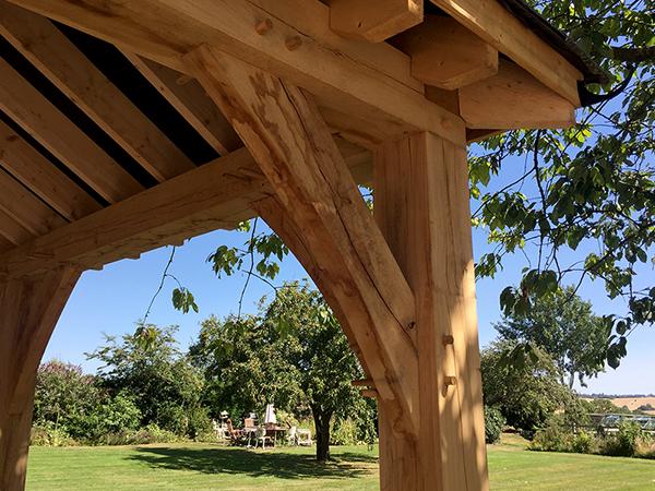 Oak framed 3 bay open carport by Shires Oak Buildings