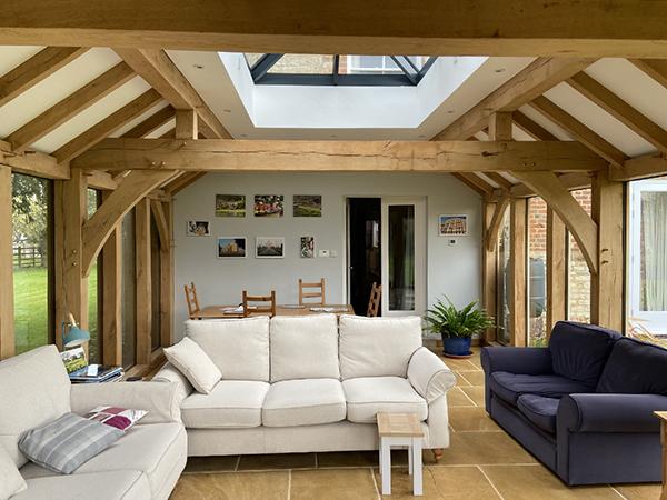 Oak framed orangery with mansard roof, internal view, by Shires Oak Buildings
